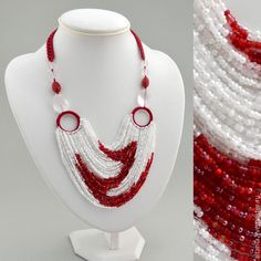 Petunias - the central part of the necklace consists of 50 two-colored beaded strands red curls on a white field. Beaded strands are fixed on circular connectors, tied with cotton thread. Diy Jewelry Necklace, Red Jewelry, Seed Bead Necklace, Seed Bead Jewelry, Bead Jewellery, Necklace Designs, Jewelry Crafts, Handmade Jewelry, Beaded Necklace