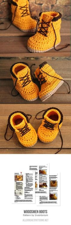 Woodsmen Boots Crochet Pattern for Buy Baby, Toddler . - Knitting is so . Woodsmen Boots Crochet Pattern for Buy Baby, Toddler . - Knitting is as easy as 3 Knitting boils down to three e. Crochet Boots, Crochet Slippers, Knit Crochet, Double Crochet, Crotchet, Crochet Doilies, Funny Crochet, Knitted Booties, Kids Slippers