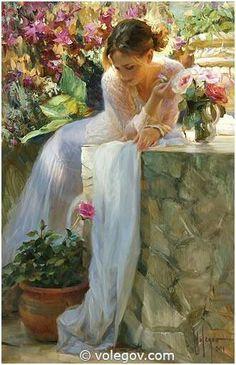 Painting by artist Vladimir Volegov. Woman Painting, Figure Painting, Female Portrait, Female Art, Vladimir Volegov, Figurative Kunst, Fine Art, Beautiful Paintings, Oeuvre D'art