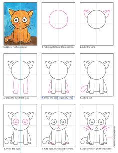 Draw a Big Head Cat (Art Projects for Kids) - Basteln mit Grundschülern - Katze Art Drawings For Kids, Drawing For Kids, Easy Drawings, Art For Kids, Drawing Projects, Drawing Lessons, Art Lessons, Art Projects, Drawing Ideas