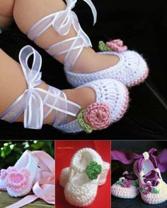 Crochet Baby Shoes Ballerina Crochet Booties - FREE Patterns - You will love these adorable crochet ballerina baby booties and we have some free patterns for you. Check out the video tutorial too. Crochet Baby Shoes, Newborn Crochet, Crochet Baby Booties, Crochet Hats, Crochet Baby Cocoon Pattern, Crochet Baby Blanket Beginner, Crochet For Beginners, Crochet For Kids, Baby Ballerina