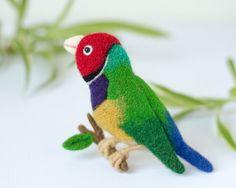 Colorful bird brooch Finch Felt bird pin Animal pins by TaniaFelt
