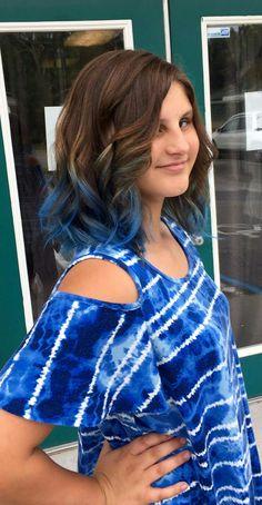 Blue Topaz ombre on medium Brown hair