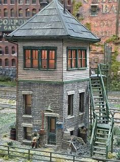 Model Railroading - The Mistakes You Need To Avoid - Model Train Buzz Lookout Tower, Hillside House, Tower House, Unusual Homes, Model Train Layouts, Miniature Houses, Model Trains, Tiny House, House Plans
