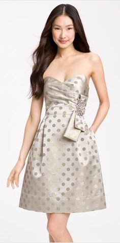 spotted, satin and strapless! great dress for a holiday party! (or even bridesmaids)