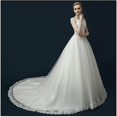 A-line+Wedding+Dress+Beautiful+Back+Court+Train+Off-the-shoulder+Tulle+with+Appliques+Beading+Ruffle+–+USD+$+179.99