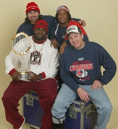 Four of the prominent members -- Johnny Damon, Pedro Martinez, Ortiz and Curt Schilling -- of the 2004 World Champion Red Sox chill on top o...