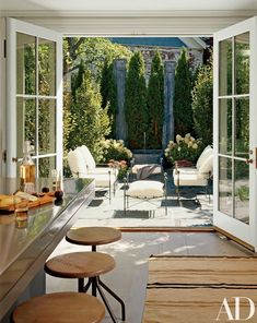 18 ideas backyard living spaces french doors for 2019 Architectural Digest, Outdoor Rooms, Indoor Outdoor, Outdoor Living, Outdoor Decor, Indoor Plants, Installing French Doors, Outdoor Gas Fireplace, Interior Exterior