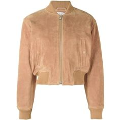 See By Chloé Cropped Bomber Jacket ($543) ❤ liked on Polyvore featuring outerwear, jackets, long sleeve crop jacket, cropped bomber jacket, zip front jacket, see by chloe jacket and blouson jacket