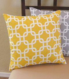 Yellow Modern Chain Link Throw Pillow Cover by PillowPeels on Etsy, $14.95