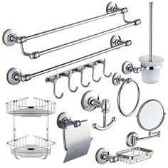 Chrome Silver Polished Solid Brass Bathroom Hardware Set Round Base Bathroom Accessories Set Wall Mounted Bathroom Products #Affiliate