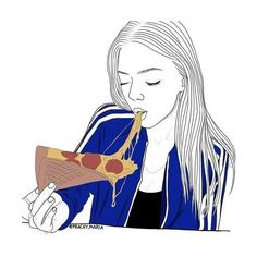 Art girl drawing We Heart It ❤ liked on Polyvore featuring fillers and outline