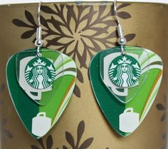 Guitar Pick Earrings STARBUCKS COFFEE Handmade Upcycled Gift Card