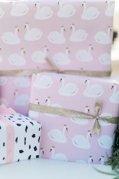 Celebrating a Birthday with the Prettiest Swan Soiree Girl Birthday Themes, Little Girl Birthday, First Birthday Parties, First Birthdays, Birthday Ideas, 2nd Birthday, Soiree Party, Pink Wrapping Paper, Gift Wrapping