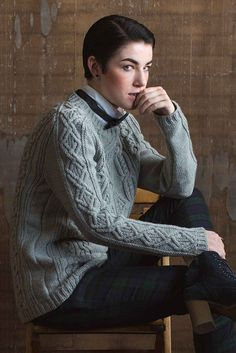 Woven diamonds decorate the center front and back of the Cash Pullover, and a smaller woven diamond motif runs up each arm and over the saddle shoulders. The garment features slipped stitches throughout, including the ribbing. Positive ease, saddle shoulders, and a long body provide a comfortable, flattering fit. This pullover is worked flat in pieces from the bottom up; the sleeves extend into the saddle shoulders. Check out the pattern in Interweave Knits Fall 2017.