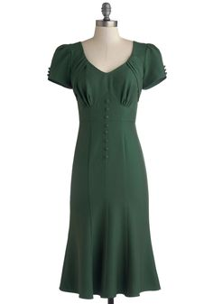 Stop Staring! Down to a Pine Art Dress in Green | Mod Retro Vintage Dresses | ModCloth.com