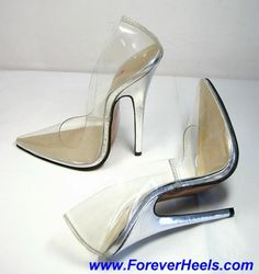 ForeverHeels Style CINDERELLA, V-shaped Pointed Toe Pumps, Transparent Upper with Solid Color Heels, Silver PU Heels