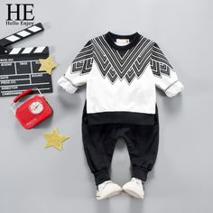 Hello Enjoy Boys Clothing Sets Spring Fashion Long Sleeve T-shirt+Pant Sport Suits Kids Children Casual Clothes Tracksuits Little Boy Outfits, Kids Outfits, Casual Outfits, Traje Casual, Baby Shirts, Sport Pants, Baby Sweaters, Holiday Fashion, Trousers Women
