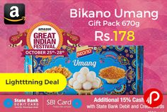 Amazon #LightingDeal is offering 15% off on Bikano Umang Sweets Gift Pack 670g just Rs.178. A feel of celebrations is what make your festival so special, Umang for you with rasogolla, bikaneri bhujia and crunchy munchy.   http://www.paisebachaoindia.com/bikano-umang-gift-pack-670g-just-rs-178-amazon/