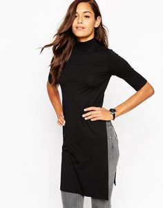 £20 ASOS Maxi Longline Top With High Neck And Side Split