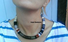 Fall Earth Colors Necklace Choker Necklace by UtopiaManufactory