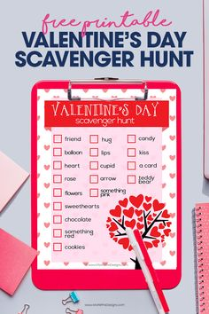 Everyone needs a little Valentine's Day fun. Give the kids this free printable Valentine's Day Scavenger Hunt and see who can find everything on the list! Download and print the scavenger hunt now for free. #valentinesday #freeprintable #valentinesdayparty #scavengerhunt #valentinesdayideas