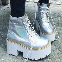 Hologram by kokopie_shop Sock Shoes, Cute Shoes, Me Too Shoes, Shoe Boots, Shoes Heels, Dream Shoes, Crazy Shoes, Pastell Goth Outfits, Emo Fashion