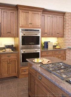 Kitchen Island Cooktop Pictures Of Kitchens Traditional Medium Wood Cabinets With Double Ovensbrown