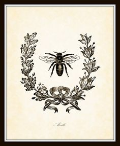 Vintage French Bee with Berry Wreath Botanical by BelleMaisonArt, $10.00 (images I think come from the graphics fairy for free!)
