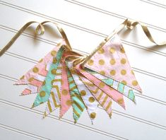 Metallic Gold, Pink, Mint, and White Pennant Fabric Banner - Bunting, Party Decoration, Photo Prop on Etsy, $38.00