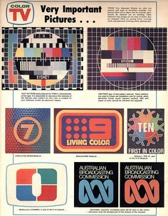 Australian Television Network logos - transition from b&w to colour, 1975.