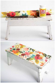 Have a wooden stool that needs a makeover? I revamped an antique wood stool find with pretty paper and Mod Podge. This is a fun DIY project that is really EASY to do! You can use the same method for other furniture such as chairs, coffee tables, and more. Diy Stool, Wood Stool, Refurbished Furniture, Painted Furniture, Furniture Legs, Barbie Furniture, Garden Furniture, Furniture Design, Diy Furniture Renovation