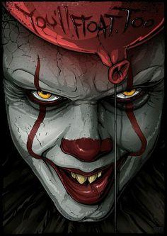 Pennywise Source by Vanimixer Le Clown, Creepy Clown, Arte Horror, Horror Art, Horror Movie Characters, Horror Movies, Arte Dope, Horror Drawing, Pennywise The Dancing Clown
