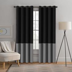 Turquoize 2 Panels Solid Blackout Drapes, Grommet/Eyelet Top Polyester Curtain, 2 x 52-Inch-by-84-Inch, Two Tones - Black & Grey