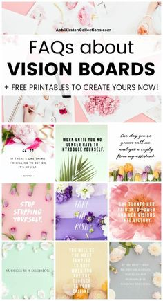 FAQs about making a vision board. How to Make a Vision Board: Vision board examples and ideas plus free motivating quote printables to add to your own vision board! Home Remedy For Cough, Cold Home Remedies, Herbal Remedies, Holistic Remedies, Health Remedies, Diy Image, Goal Board, Creating A Vision Board, Mental Training