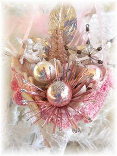 Pink Angel Tussie Mussie Ornament by trashtotreasureart on Etsy, $18.50