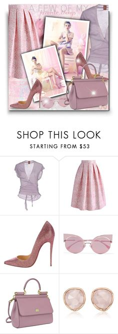 """""""Pink and Lilac!"""" by asia-12 ❤ liked on Polyvore featuring Dondup, Le Silla, Chicwish, Christian Louboutin, Fendi, Dolce&Gabbana and Monica Vinader"""