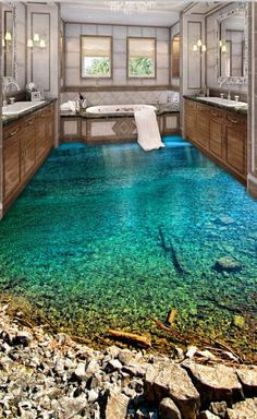 Home Discover Online Shop Decorative self adhesive floor painting wallpaper waterproof non-slip PVC sticker green lake Floor Wallpaper, Painting Wallpaper, Wallpaper Murals, Dream Bathrooms, Dream Rooms, Rustic Bathrooms, Rustic Bathroom Designs, Bathroom Ideas