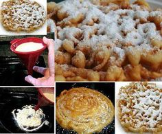 A definite keeper!! Funnel Cakes 1 egg, beaten,2/3 cup milk,1 tsp baking powder,1 ¼ cup all purpose flour or coconut flour for gluten free,2 Tbsp sugar,¼ tsp salt,Oil for frying,to cover bottom of the skillet,Powdered sugar for topping..Mix egg and milk. Sift dry ingredients add to milk mixture, beat until smooth.Preheat oil in fry pan to 375 degrees F.Pour batter into hot oil with a funnel Let batter drizzle into hot oil. Spiraling.Cook about 1 minute, flip over, cooking both sides