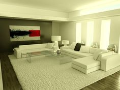 Ultramodern Stylish White Living Room Exciting Design Picture listed in: exclusive living room,