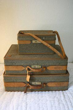 Three Piece Set of Vintage Hartmann Luggage in by Retrothrift305