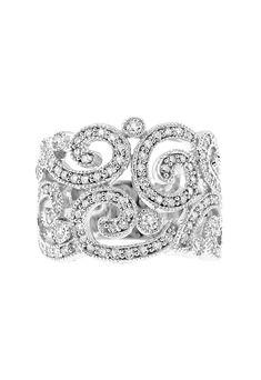 Effy 14K White Gold Diamond Filigree Ring, 1.20 TCW - Rings - Women