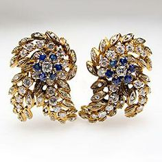 Vintage Floral Spray Motif Earrings Blue Sapphire and Diamond Solid 18K Gold