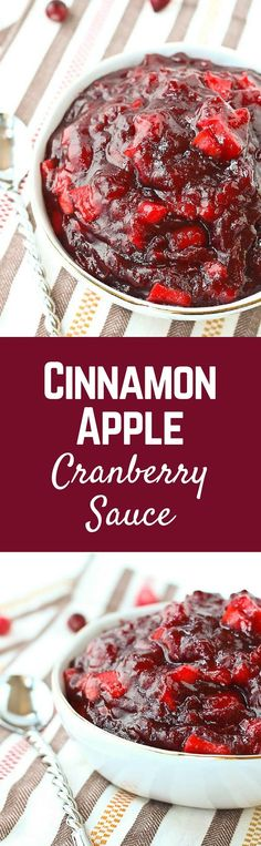 Don't settle for cranberry sauce from a can - this flavorful cinnamon apple cranberry sauce is super simple to make and can even be made a day or two in advance! Get the easy Thanksgiving recipe on Ra (Christmas Recipes Sides) Easy Thanksgiving Recipes, Thanksgiving Menu, Fall Recipes, Holiday Recipes, Holiday Foods, Christmas Recipes, Cranberry Relish, Easy Cranberry Sauce, Bon Appetit