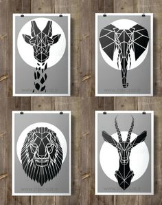 Set of four Geometric Safari Animals on Grey Background, Faux Taxidermy Nursery Art perfect for little or big boys room. Origami inspired African Animals, customize your colors