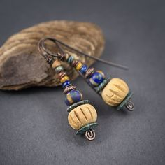 tribal earrings  pottery beads  terracotta  by entre2et7 on Etsy