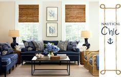 nautical dining rooms | nautical chic living room blue sofa