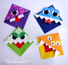 Silvia Scrap: Marcapaginas de monstruos y buhos                                                                                                                                                     Más Origami Bookmark Corner, Corner Bookmarks, My Bookmarks, Diy Crafts For Gifts, Crafts For Kids, Paper Crafts, Quick Halloween Crafts, Manualidades Halloween, Napkin Folding