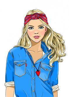 Anna Lazareva is represented by Lindgren Smith Illustration Woman Illustration, Digital Illustration, Blue Shirt With Jeans, People Figures, Blonde Women, Glamour, Jean Shirts, Anna, Princess Zelda