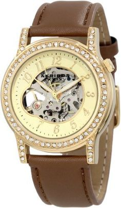 Akribos XXIV Women's AKR475BR Open Heart Skeleton Automatic Dress Watch Akribos XXIV. $79.95. This akribos xxiv ladies timepiece showcases a skeleton automatic moevement. Cream dial with hydraulically pressed guilloche herringbone design. Bezel encased with clear genuine crystals. Gold-tone arabic numeral hour markers and luminescetn hands. Genuine calfskin leather brown strap with a satin finish